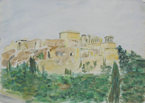 Acropolis, Athens, 1978, water color