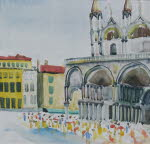 Basilica di San Marco, Venice, June 29, 1977, water color