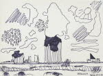 Cloud formations in Denmark, July 18, 1970, pen drawing
