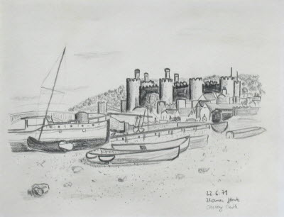 Convey Castle, UK, June 22, 1979, pencil