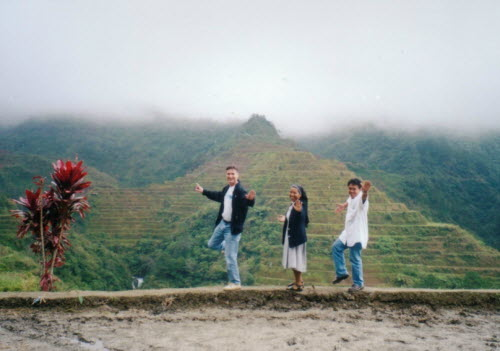 Dancing at brim of rice field in the rice terraces of Banaue, 2002