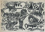 Dinosaur black and white, linocut, 1971