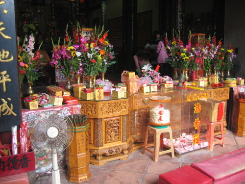 FLowers before Altar in Sacrificial Rites Martial Temple, Tainan