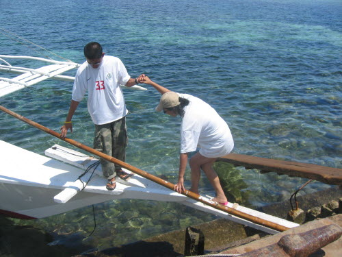 Getting on the boat for a snorcheling trip, Cebu, 2005