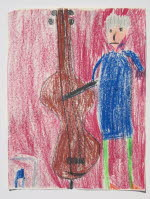 Grandpa plays the bass, oil crayons, Oct