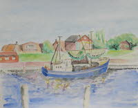 Greetsiel Harbor, Germany, Aug 2003, 28x22cm2