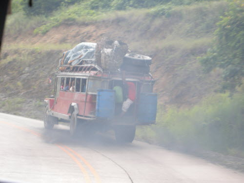 Jeepney on the road to Sabang, Palawan