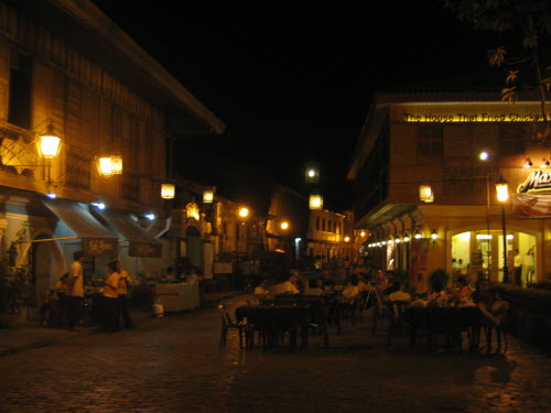 Night scene - restaurants in Vigan, 2006