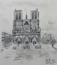 Notre Dame, Paris, May 31, 1980, charcoal