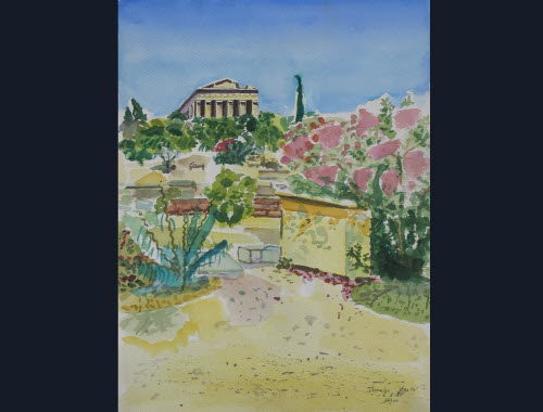 Parthenon, Athens, Aug 6, 1980, water color