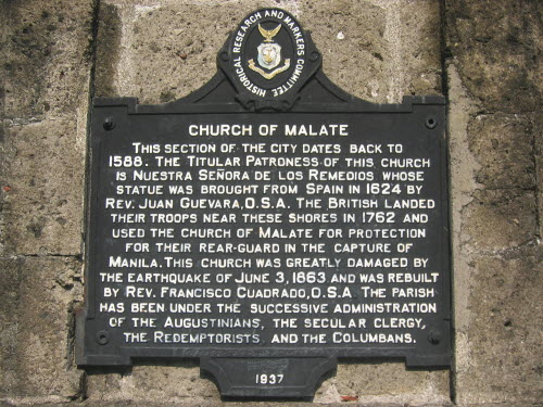 Plate at Church of Malate