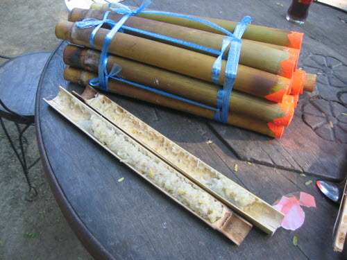 Rice cooked in bamboo tubes, Vigan, 2006