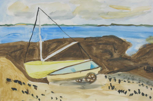 Sailing boats in Penerf, Bretagne, 1976, water color