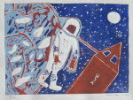 Spacewalk around the earth, linocut, 1972
