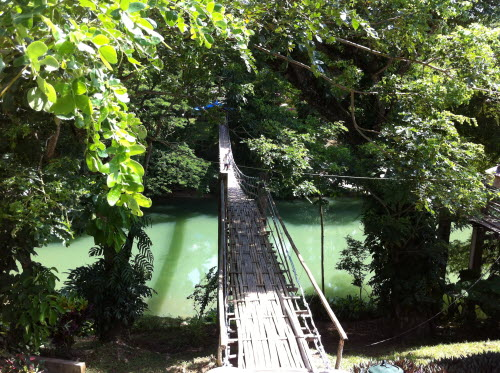 Suspended bridge, tourist attraction in Bohol, 2012