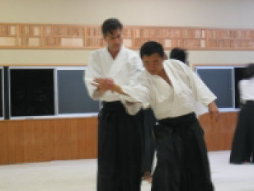 Thomas during aikido practice in Shosenjidojo