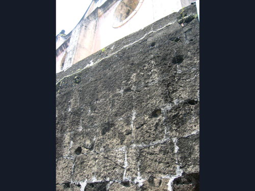 WW2 Bullet holes still visible in Intramuros, Manila, 2005